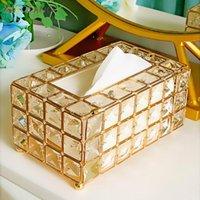 Xiaolang الأنسجة حالة تخزين مربع شينينغ الذهب والفضة الزجاج حاوية ورقة مطعم سيارة منزلية فندق