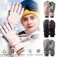 Женщины Лыжные перчатки Сенсорный экран Водонепроницаемый Ветрозащитный Зимний Сноуборд Перчатки Для Спорт на открытом воздухе Бег велосипеда Работает1