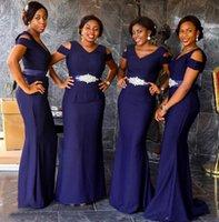 2021 Новый Южноафриканский фиолетовый V-образным вырезом рукава подружки невесты платья русалки горячие длинные для свадьбы ремень бисер длиной до пола Длина горничной платья