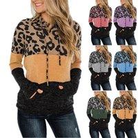 Женщины Leopard Толстовки пэчворк цвета с капюшоном свитер с капюшоном с длинным рукавом пуловер толстовки мода блузка топы осень зима толстовка S-3XL E120502