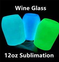 12 oz sublimation lueur de vin de vin rougeoyant dans les tasses de peinture lumineuses sombres avec couvercles en acier inoxydable bouteilles d'eau buvant des tasses de lait A12
