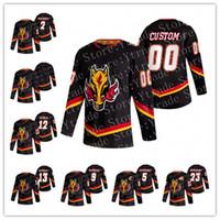 Özel Mark Giordano Calgary Flames 2021 Ters Retro Johnny Gaudreau Jarome Iginla Bennett Elias Lindholm Backlund McDonald Hokey Jersey