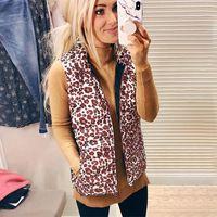 Uzhdss leopard print повседневный жилет женщины зима 2021 gilet дамы мода стоять воротник без рукавов куртка