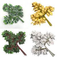 Декоративные цветы венки 24 шт. Баньянское дерево листьев ветви Искусственная зелень растет березовый стебель