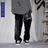 Broderie Spider Broderie Baggy Harem Streetwear Hommes Summer Hip Hop Pantalon occasionnel Mode Pantalons Male Ed933 201118