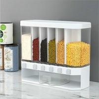 Botellas de almacenamiento Tarjetas de cocina Cubierta de cereal de arroz Contenedor de plástico con tapa Harina de tanque de pared