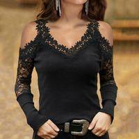 Женская футболка женщины с плечо с длинным рукавом футболки женщины кружева лоскутное сексуальные вершины весна и осень V-образным вырезом доза для женщин # 4