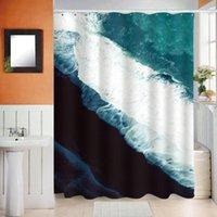 Duschvorhänge Abstrakte 3D blau Meer Wasser Druck Vorhang Badezimmer Wasserdichte Polyester Stoff WC-Partition Wohnkultur ZC106