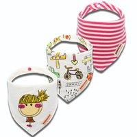 아기 턱받이 3pcs / 목화 신생아 턱받이 줄무늬 만화 유아 버핑 천으로 아기 선물 스카프 신생아 옷 B3965
