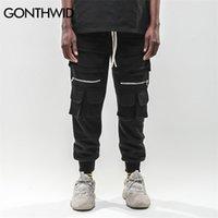 Gonthwid Hip Hop Zipper multi tasche Harem Joggers Pantaloni Cargo Pantaloni Sweatpants Streetwear Mens Harajuku Pantaloni casual Pantaloni maschili 201112