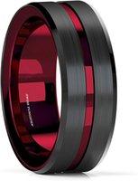 Bague en carbure de tungstène brossé de 8 mm avec confort Fit Rouge Inner Bague Bague Bague Anneau Hommes Bijoux Délicat Style Cadeau