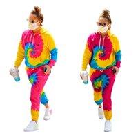 Kadın Eşofman Artı Boyutları Tie-Boya Tasarımcıları Uzun Kollu Kapşonlu Kazak Kazak Cep Pantolon ile Rahat Spor Suits S-3XL G11805