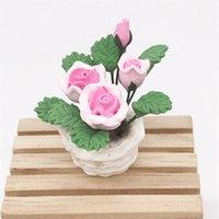 1 : 12 미니 인형 하우스 인형 집 포켓 가구 장식 시뮬레이션 식물 꽃과 식물 화분에 심은 수지 로즈 CRSM