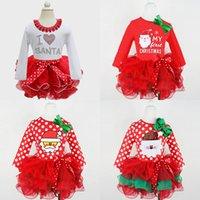 Natal Princesa Dress Kids Meninas Lace Tutu Dress Santa Claus Impresso Dot Dot Vestidos Bebê Dos Desenhos Animados de Manga Longa Roupas Criança Roupas de Criança 396 K2