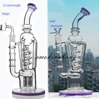 12,5 дюймов Freezable Bong Recycler DAB Буровые установки Big Glass Bongs Водопроводные трубы толстые стеклянные водные бонги табачные трубы кальяны с 14 мм Banger