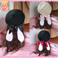Hand - made soft girl of autumn and winter ears bow beret Japanese Lolita girl retro painter hat