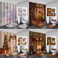 Arbres de Noël Cheminée 3D Rideau de douche Tapis Tapis toilettes Tapis antidérapant Tapis Festival Decor Joyeux Noël Salle de bain Ensemble F1222