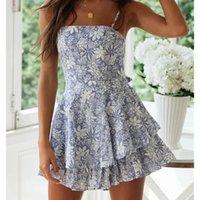 2020 мода синий цветок печати женские свободные плейуситы весна лето женские пороки стиль оборботы слинг пассуит сладкой леди комбинезон t200704