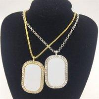 مستطيل التسامي فارغة قلادة فيليه شكل كريستال سبيكة قلادة للطباعة النساء الرجال مجوهرات اكسسوارات سلسلة سحر هدايا 8 5BC N2