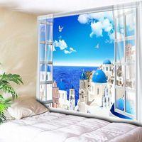 Blue Sky Ocean Castle Home Decor Sea Wall Tapestry Soggiorno Camera da letto Bedside Parete Tappeto Appeso Tavolo coperta Panno da tavolo 200x150cm1