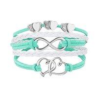 Cores dupla pulseira de coração infinito weave couro envoltório pulseiras multicamadas mulheres pulseiras moda jóias e presente de areia