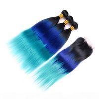 Üç tonlu Renkli Brezilyalı İnsan Saç Demeti Kapatma Düz Fiyatları Düz # 1B Mavi Teal Ombre 4x4 Dantel Kapatma Örgüleri ile 4x4 Dantel Kapatma