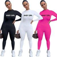 유럽과 미국 폭발 2020 Womens 패션 캐주얼 점프 수트 솔리드 컬러 긴 소매 편지 수 놓은 Jumpsuit Bodysuit 여성