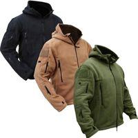 Hombres Táctico Militar Winter Fleece Chaqueta con capucha Softshell Jacket Polartec Outerwear Ropa del ejército Y201026