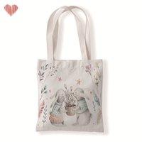 Счастливой Пасхи холст сумка моющиеся многоразовые удобные для недвижимости холст продовольственный пакет пасхальные кролики яичные напечатанные подарки хранения сумка 212 n2