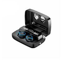 M9 TWS V5.0 무선 블루투스 헤드폰 게임 이어폰 스포츠 음악 이어 버드 2000mAh 전원 은행 및 마이크와 함께 디스플레이 헤드셋