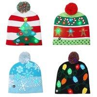 HOT-Fashion LED Glowing Christmas Hat Colorful Christmas Plush Knitted Hat Tree Snow Decoration Gift