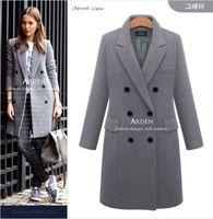 Mujeres otoño abrigo de invierno de lana casual chaquetas sólidas blazers femenina elegante doble pechuga de longitud larga cubierta de lentes 5xl FZ244