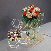 Artificial hexagonales creativas boda Telón de fondo fiesta en casa de pie de oro blanco de la boda del hierro soporte de flor Puntales Arco Decoración