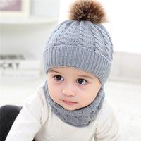 2 pcs crianças cachecol e chapéu conjunto criança chapéu de inverno pom beanie knit crânio tampão chapéus para crianças