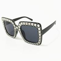 Shades surdimensionnés de luxe Femme Lunettes de soleil Imitation Lunettes de soleil Diamant Anti-UV Spectacles Viettes Vintage lunettes pour lunettes à goggle