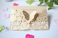 دعوات الزفاف 2021 الأوروبية الإبداعية الذهبي جوفاء شخصية مخصصة بطاقات دعوة صور حفل زفاف دعوة مع فراشة