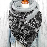 Fashion Women Scarve Paisley Print Retro Button Soft Wrap Casual Warm Scarves Shawls Leisure Comfortable Soft Personality Cover
