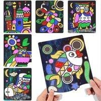 9pcs / conjunto bonito desenho animado diy transferência mágica wticker transferência pintura artesanato para crianças artes e artesanato brinquedos para crianças presente gyh