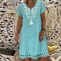 S-5XL Plus Size Dress Dress Summer Donne Vintage Stampa manica corta Midi Dress Retro Big Size Pizzo Losed Beach Beach Abiti Casual Vestidos1