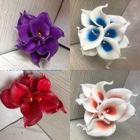 Azul marino Picasso Calla Lirios Lilies Flowers Real Touch para ramos de boda Centros de centros Flores artificiales para la boda 183 K2