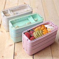 900 ml 3 capas Bento Box Eco-Friendly Almuerzo Caja de almuerzo Contenedor de alimentos Straigo Material Material de la paja Microwavable Vierro Lunchbox 3 colores