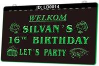 LD0014 WELKOM SILVANS 16º aniversário Vamos sinal de luz de festa 3d gravura LED por atacado