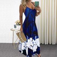 여성 여름 v 목 인쇄 긴 드레스 섹시한 스파게티 스트랩 느슨한 파티 드레스 플러스 사이즈 Boho 비치 캐주얼 드레스 플러스 사이즈 5xl1