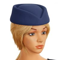 Femmes filles hôtesse de l'air hôtessettes d'hôtesse chapeau chapeaux chapeaux chapeaux fascinator chapeau de base pour le jeu de rôle cosplay costume accessoires1