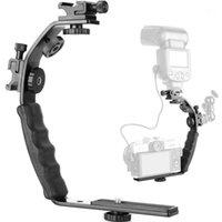 Câmera L Baixe Monte Vídeo Grip L-Bracket Dual Flash Sapato Cold Mount 1/4 Polegada Tripod Parafuso, Heavy Duty Packded Hand Grip DSLRR1