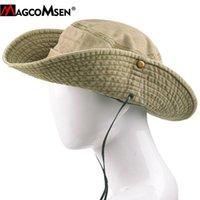 Клохики MagComsen Mens Bucket Hat Летняя защита от солнца Рыбак складной широкий Brim Tactical Cap Случайные походные рыбалки