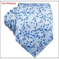 Gökyüzü mavi beyaz çiçekler ile küçük taze erkek kravat hankerchief kol düğmeleri set ipek iş rahat parti kravat jacqu Qylkup queen66