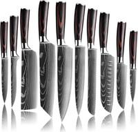 Alta calidad 7CR17MOV chef de acero inoxidable conjunto de cuchillos de cocina japonesa afilada cuchillo de cocina utensilios rebanar de santoku láser damasco patrón regalo