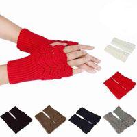 Cinq doigts Gants Fashion Girls Automne Hiver Femmes Femmes Femmes Femme Dame chaud sans doigt gant mitat de gant tricot1