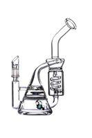 12.5 pulgadas Espiral Bongs Bongs Recycler DAB Rigs Tubos de agua de vidrio Tubería de fumar con tazón.